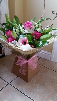 Pink and White Hand tied with natural willow