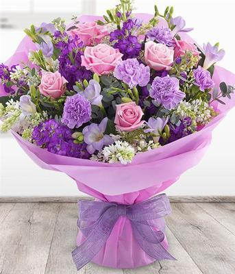 Large Pink and Purple hand tied