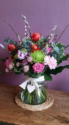 Large Vibrant Hand tied in glass Jar