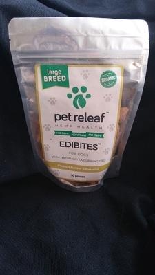 Pet Releaf Large Breed : Peanut Butter/Banana Organic Cannabidial Edibites
