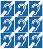 """Timbre de l'oreille barrée 1"""" x 1"""""""