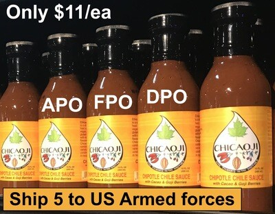 Military personnel SPECIAL:  5 for $55! MUST ship to APO/FPO/DPO addresses. 12 oz bottles!