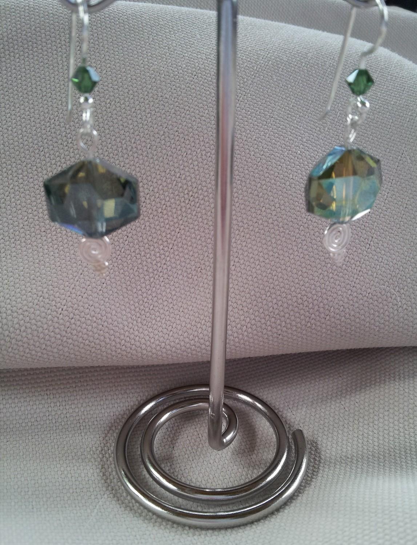 Hexagon Crystal Earring in Sterling Silver