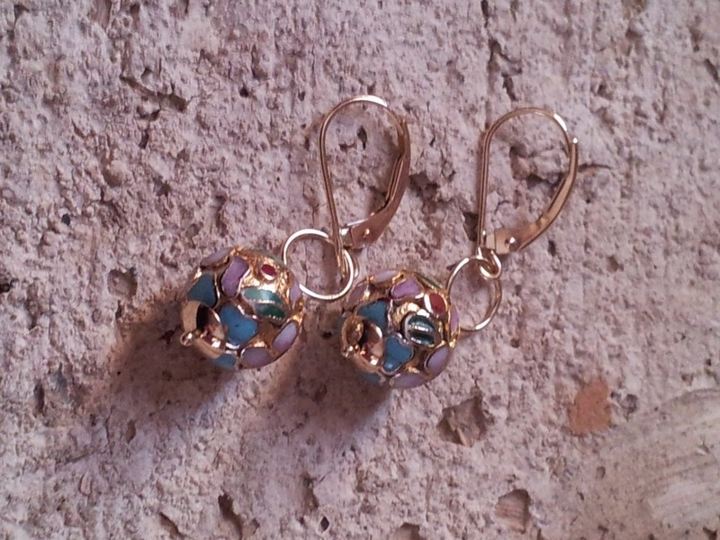 14K Gold Pink Cloisonne Earring
