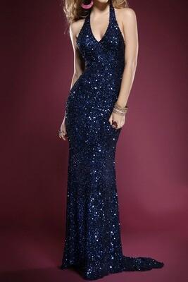 Silk Sequin Evening Gown