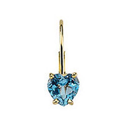 Heart Gemstone 14K Yellow Gold Earring