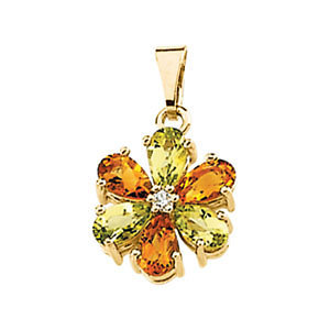 14K Yellow Gold Pendant - Citrine, Peridot & Diamond