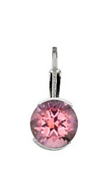 Round Genuine Gemstone Half Bezel Earring