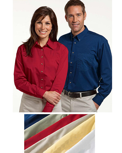 Men's Long Sleeve Twill Casual Dress Shirt