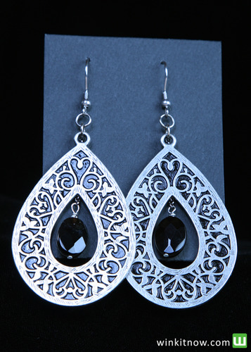 Silver Drop Earrings with Black Bead