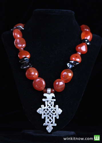 Coral and Silver Necklace with Cross Key