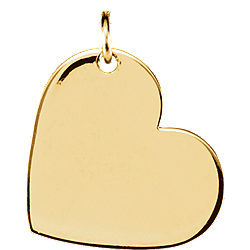 14K Gold Engraved Heart Charm