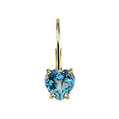 Heart Gemstone 14K Yellow Gold Earring