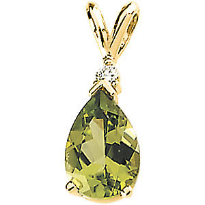 14K Yellow Gold Pendant - Peridot & Diamond