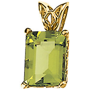 14K Yellow Gold Pendant - Emerald Shape Peridot