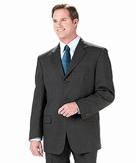Men's Poly/Wool Pinstripe Suit Coat - Jacket & Pant sold as a set