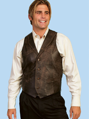 Men's Leather  Whip Stitch Vest