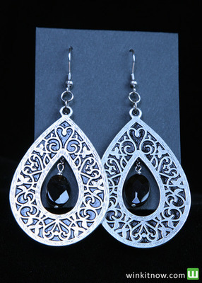 Silver Drop Earrings with Black Bead