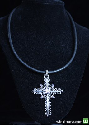 Silver Cross on Black Leather Necklace
