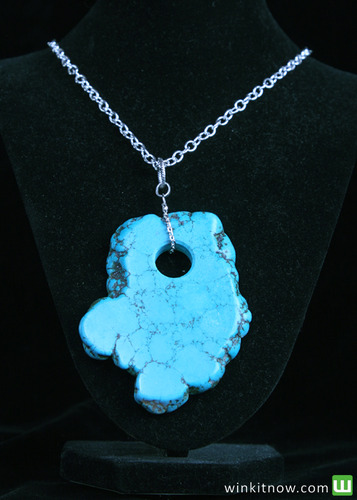 Silver Necklace with Faux Turquoise Rock Pendant