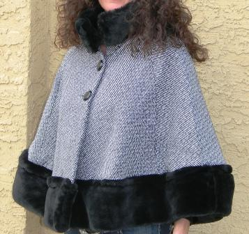 Cornflower Blue Cape with faux fur trim