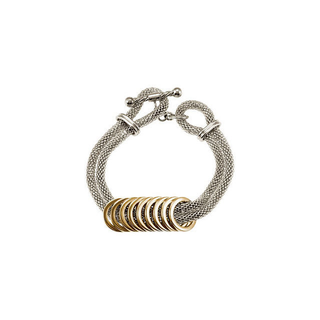 Stainless Steel Mesh Bracelet with Gold Plated Rings