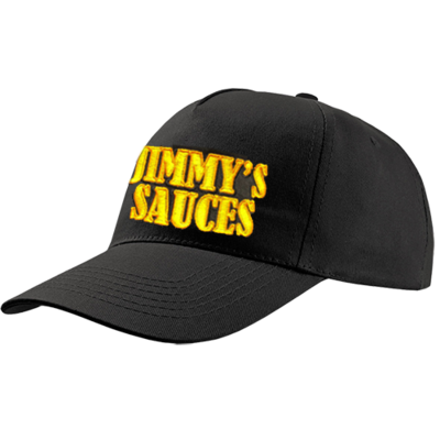 Jimmy's Black 5 Panel Baseball Cap with Embroidered Design 1