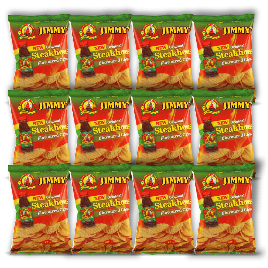 Box of 12 Units of 125g Jimmy's Steakhouse Flavoured Chips