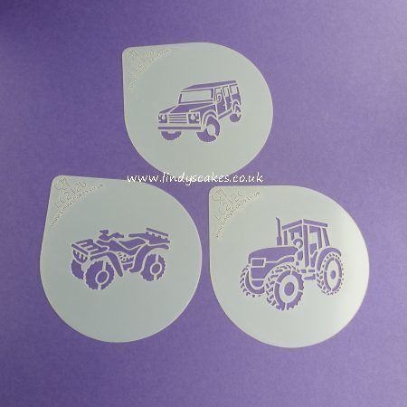 Farm Vehicles Cupcake Stencil Set - Lindy's LC212