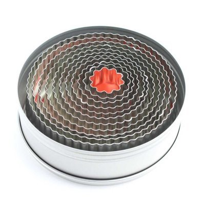 Round Fluted Pastry Cutters (Tin of 11)