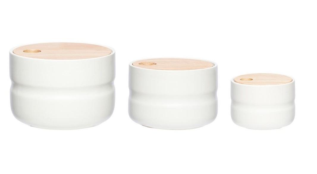 3er Set Keramikdosen weiß mit Holzdeckel
