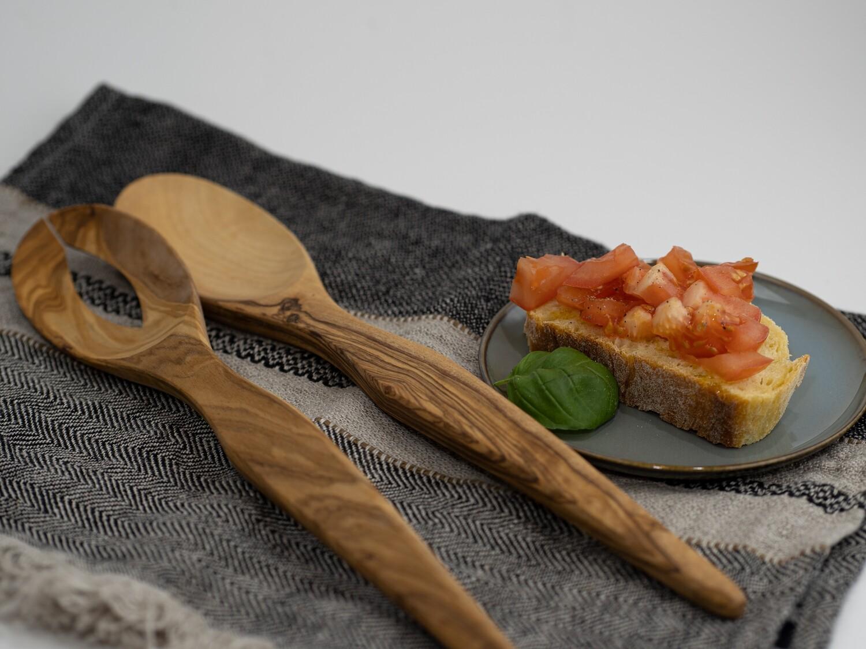 Olivenholz Salatbesteck - Löffel + Gabel geölt