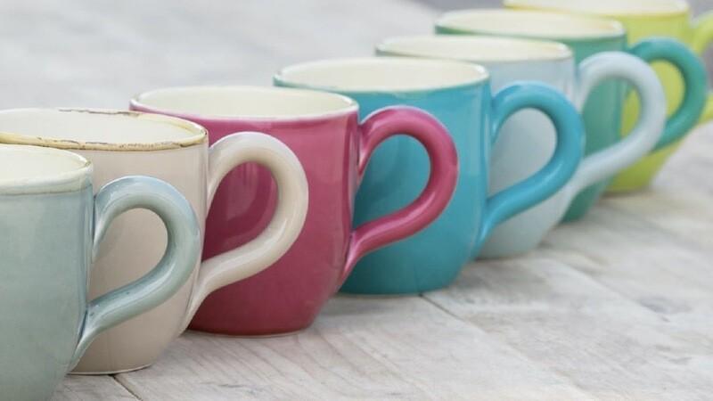 Große bunte ital. Keramik Becher von Grün & Form