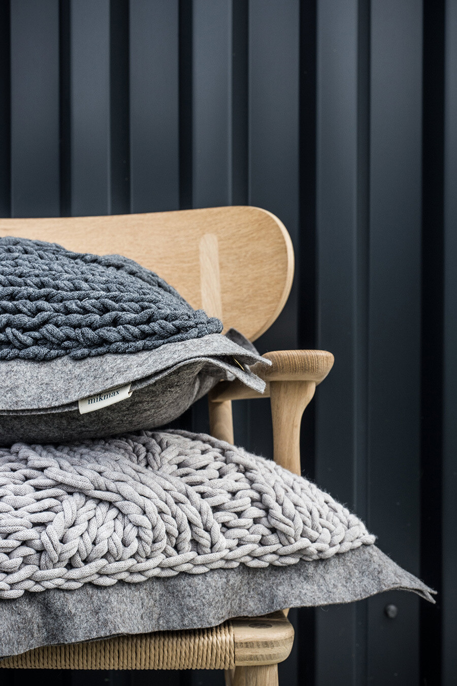 Strick-Filz Kissen 50 x 50cm Handarbeit 100% Baumwolle von mikmax