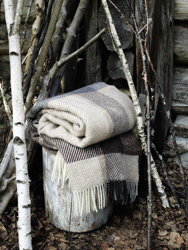 Norwegische Feinwolldecke Røros Tweed Myrull 140x220cm