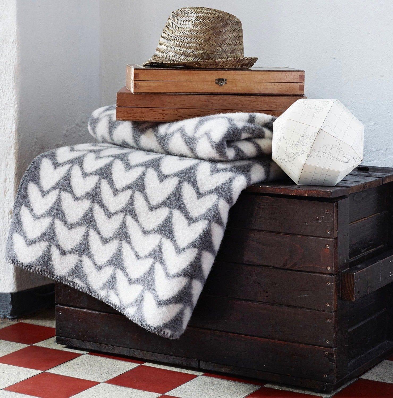 Norwegische Lammwoll Decke Røros Tweed Aker 135x200cm