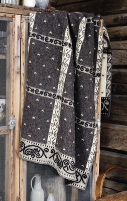 Norwegische Lammwoll Decke Røros Tweed Kristin 135x200cm