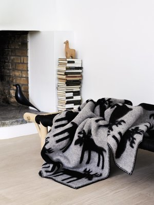 Norwegische Lammwoll Decke Røros Tweed Elg 135x180cm