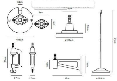 Anglepoise Zubehör für 1227 Tisch-, Wand- und Standleuchten