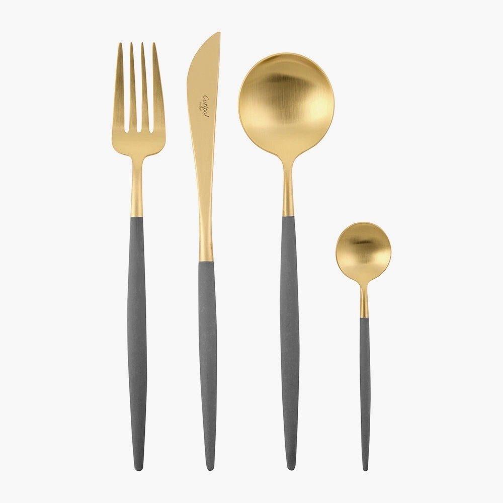 GOA Besteck Kollektion • Edelstahl vergoldet • Griff grau von Cutipol