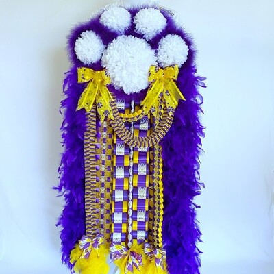 Premade Purple and Yellow Gold Deluxe Paw Print Homecoming Mum