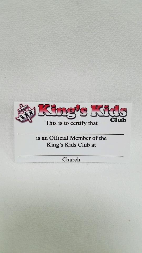 King's Kids Wallet Membership Cards (10 pack)