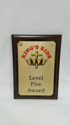 King's Kids Award Plaque - Level Five