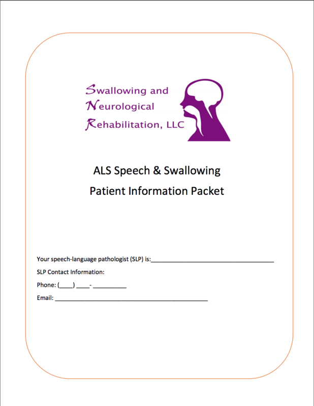 ALS Speech and Swallowing Patient Information Packet