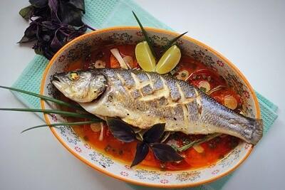 Сибас по рецептышу @belonika с овощами и рисом