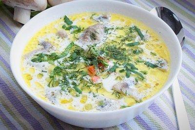 Сырный супчик с копченой курочкой, грибами и овощами (2-2,5 литра супа)