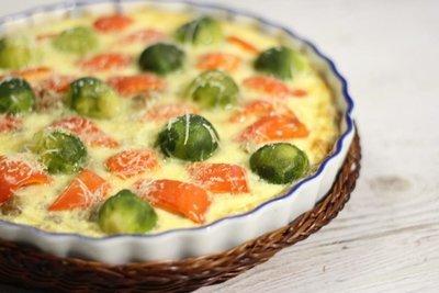 Киш с брюссельской капустой, сладким перцем и рубленым мясом