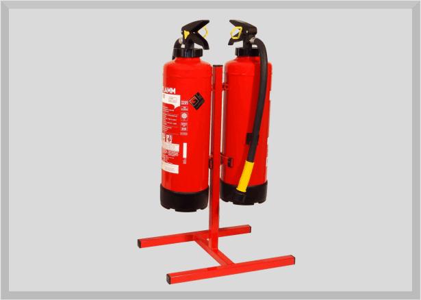 Feuerlöscher Bodenständer für 2 Handfeuerlöscher von 3 bis 12kg (Doppelständer)