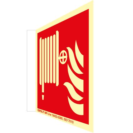 Löschschlauch Fahnenschild, Alu