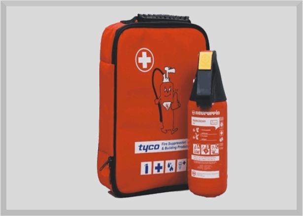 Erste-Hilfe-Set inkl. 2kg Pulver-Feuerlöscher